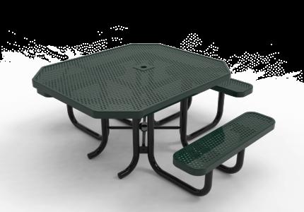 green picnic table outdoor