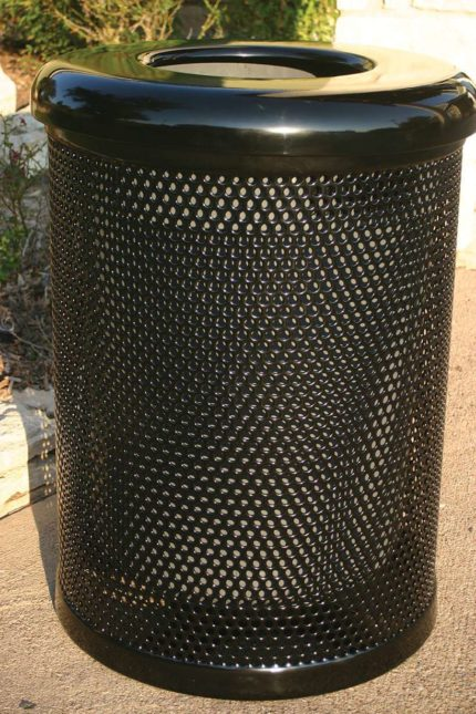 black metal trash can