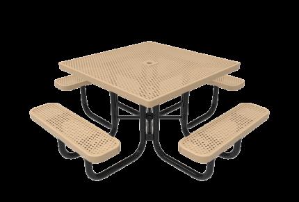 white metal picnic table square