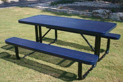 blue metal picnic table