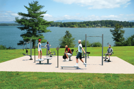 outdoor gym by lake