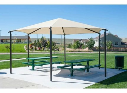hex hip shade over picnic tables