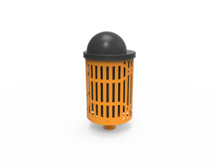 yellow metal trash can with lid