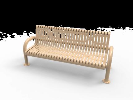 tan park bench metal