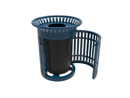 blue industrial trash can