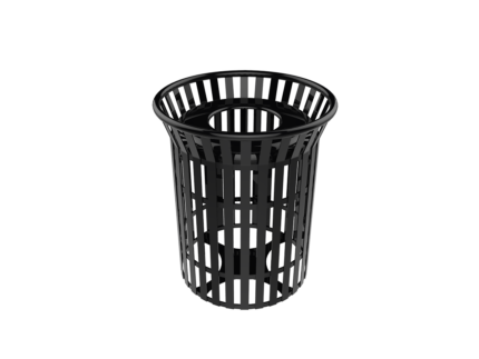 black industrial metal trashcan