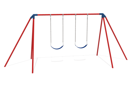 red and blue double swing set