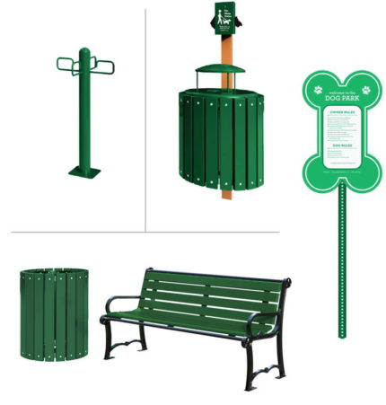 green-dog-park-trash-and-bench-and-sign