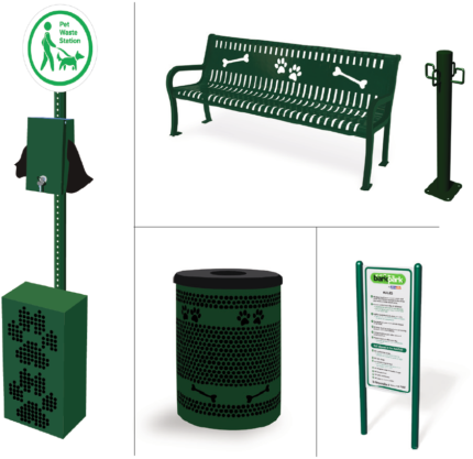 green-dog-park-bench-trash-wash-station
