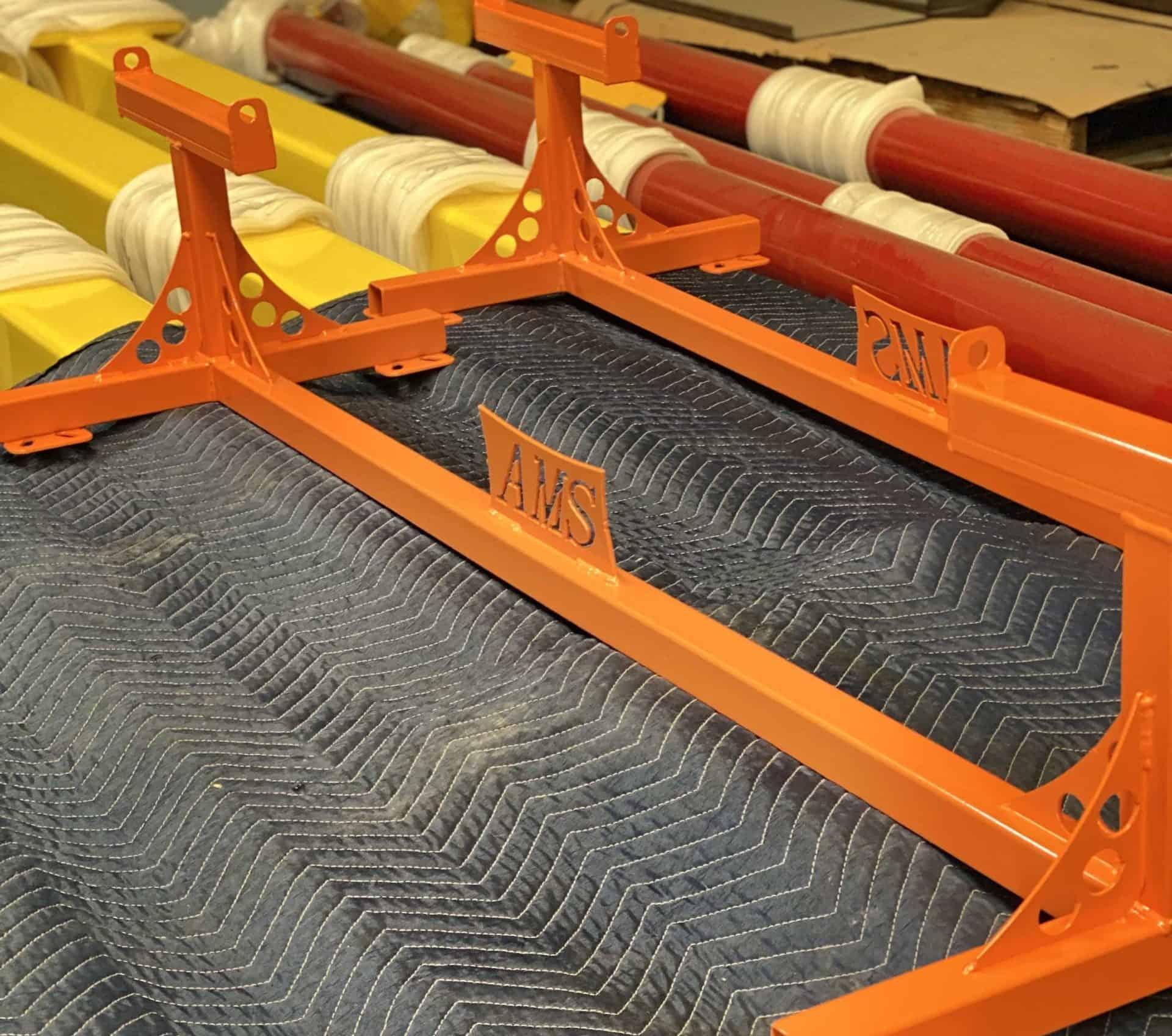 orange powder coated metal