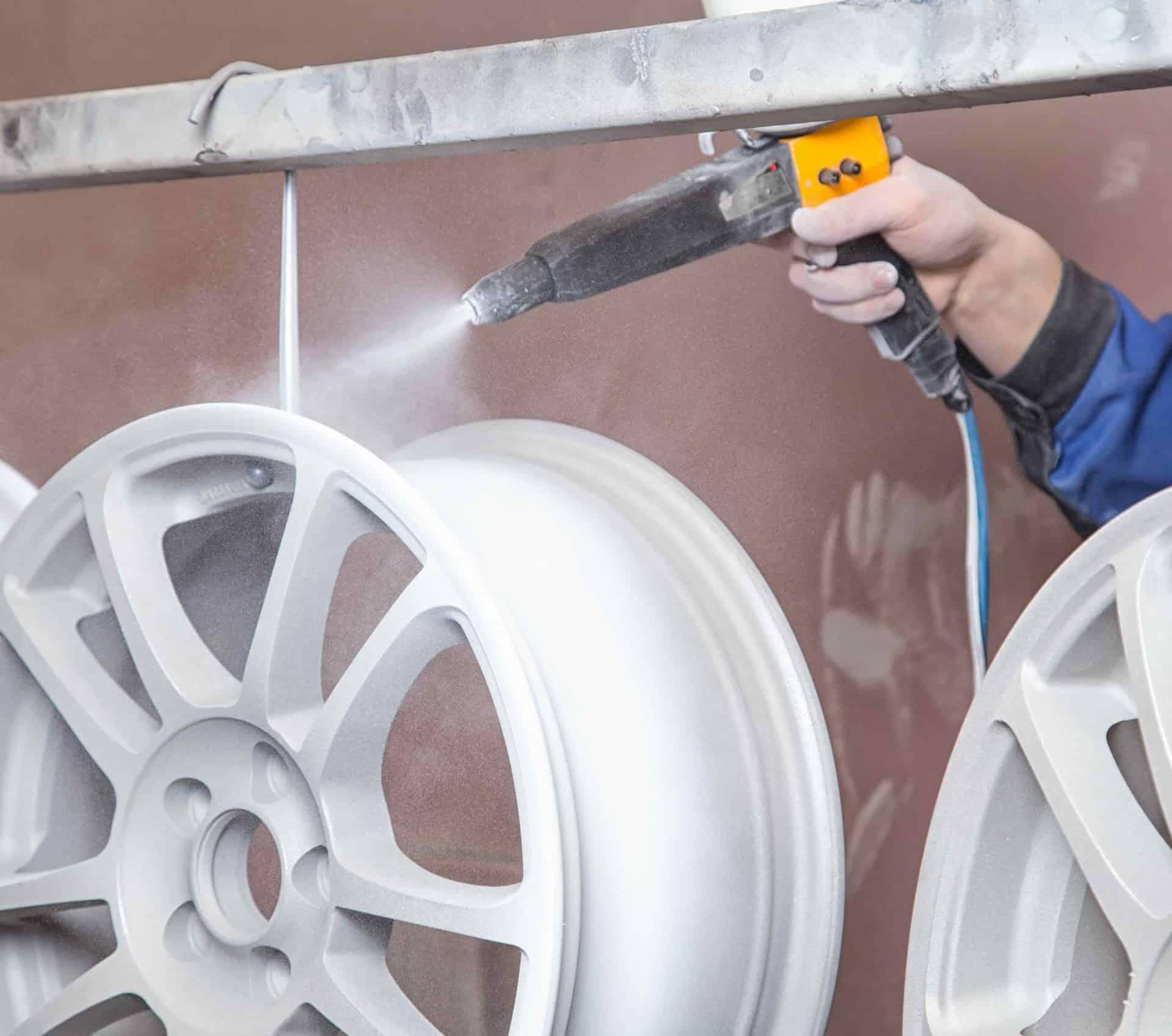powder coating rims for a car